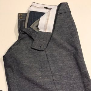 3 slacks - gray, denim blue, brown/tan
